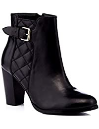 179ab8dac9 Debenhams Faith Womens Black Quilted Leather 'Brooksie' High Block Heel  Ankle Boots