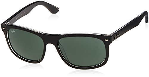 Ray-Ban Unisex Sonnenbrille RB4226, Mehrfarbig (Gestell: Vorderseite schwarz, Rückseite transparent Glas: dunkelgrün 605271), Large (Herstellergröße: 56)