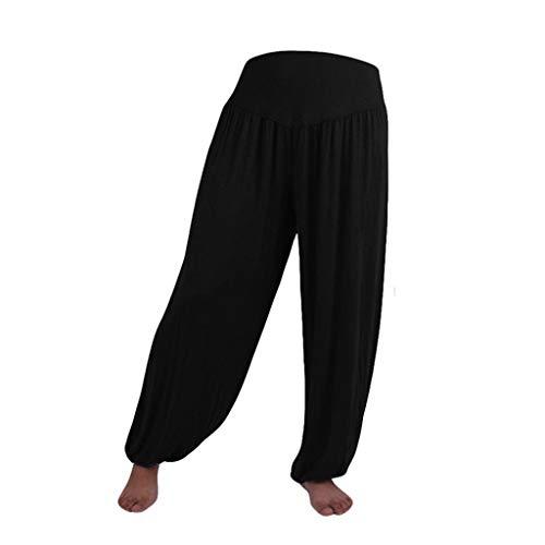 Pantalon Spandex Doux Modal Pantalon Harem Yoga Pilates Pants Lanterne Femmes SANFASHION(Noir,XXL)