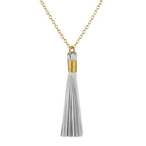 Grays Seide Pullover (AISHIPING Ethnische Lange Quaste Halskette Frauen Goldene Seil Wickeln Seide Stoff Böhmische Einfache Vintage Anweisung Fringe Halskette)