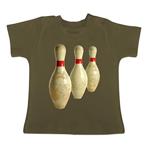 Sport Baby - Alte Pins Kegel Vintage - 6-12 Monate - Olivgrün - BZ02 - Baby T-Shirt Kurzarm