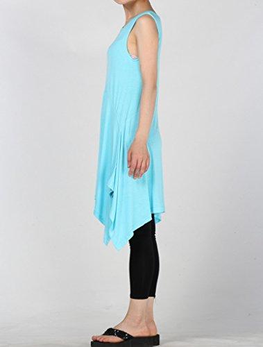 Vogstyle Donna Nuovo Top Senza Maniche Camicia Vestito Con Irregolare Borders Taglia 12 Colori S-4XL Cielo Blu