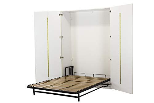 WallBedKing Wandbett (Klappbett, Wandbett, Verstecktes Bett, Gästebett mit Kleiderschrank, King-Size-Größe, Weiß (King-size-holz-bett)