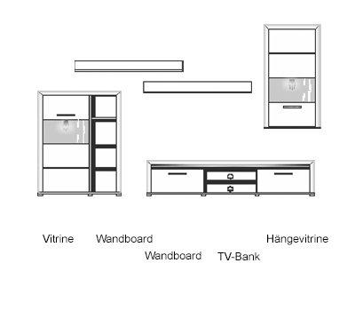 5-tlg. Wohnwand in Buche hell Nb./Abs. in dunkelgrau, mit LED-Beleuchtung, 1 Vitrine, 2 Wandboards, 1 TV-Bank, 1 Hängevitrine, B/H ca. 322/201 cm - 3