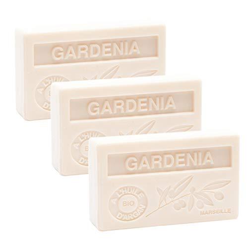 Französische Seife, Satz von 3 x 100 g - Gardenia - Arganöl - La Maison du Savon von Marseille -