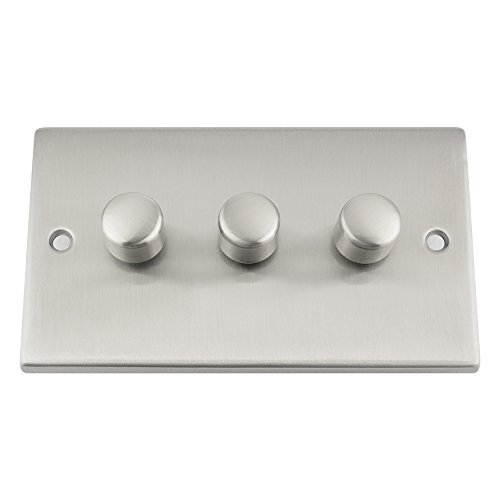 Light Dimmer Switch 3 Gang 2 Way 10 Amp - 400W - Satin Chrome - Square by A5 Products - Satin Chrome 10