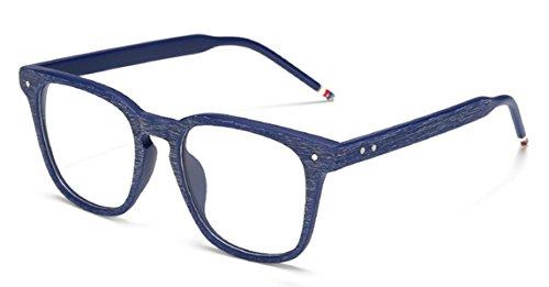 J&L GLASSES Retro Klassisches Nerd Klar Hornbrille Brille mit Fensterglas Damen Herren Brillenfassung holz Stil (BLUE)