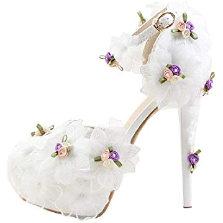 ZHRUI Dames cachées Plate-Forme Talon Aiguille de Blanc Chaussures de Aiguille mariée Mariage avec des Fleurs en Dentelle... - B07JZ7JD33 - cf111a