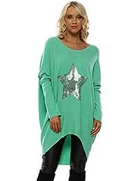 Laetitia Mem Green Ribbed Sequin Star Oversized Slouch Jumper cf9c8e80c