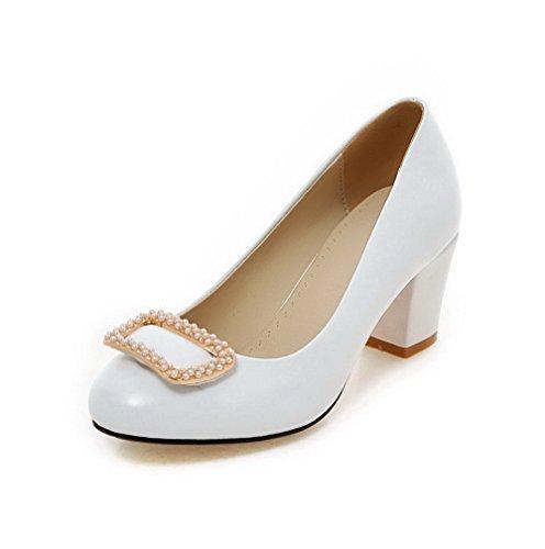 AgooLar Femme Tire Rond à Talon Correct Pu Cuir Mosaïque Chaussures Légeres Blanc