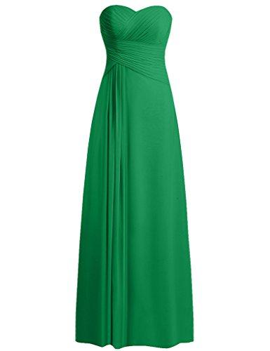 HUINI Robe Bustier Longue en Mousseline de Demoiselle D'honneur Robes de Bal de Soir¨¦e de Mariage Vert