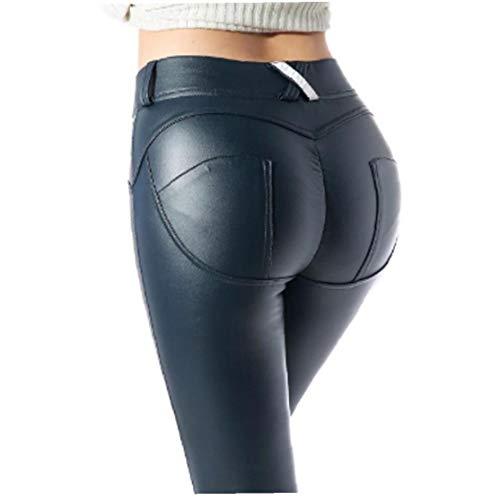 'S Faux Le Donne Delle Ghette Moto Pantaloni PU Elastico Shaping Hip Spinge Verso L'Alto Elastico Sexy Vita Alta Collant Navy Blue - M