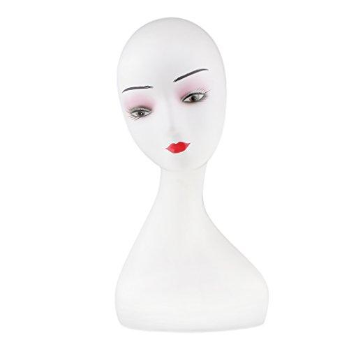 MagiDeal Plastique Tête Mannequin Femme à Cou Long avec Maquillage pour Présenter Perruque Chapeau Foulard - D
