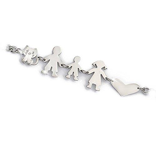 Beloved ❤ Armband Familie für Damen oder Unisex in verschiedenen Varianten-Armband Mamma, Papa, Junge, Mädchen, Katze und Hund verschiedenen Kompositionen GENITORI + BIMBO + GATTO