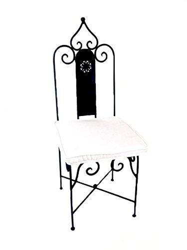 ORIGINAL Orientalischer Stuhl Gartenstuhl aus Metall Schwarz Andalusien | Marokkanischer Balkonstuhl Inkl. Sitzkissen Stuhlkissen | Eisenstuhl als Bistrostuhl | Mediterrane Deko im Garten oder Balkon (Sitzkissen Rost)
