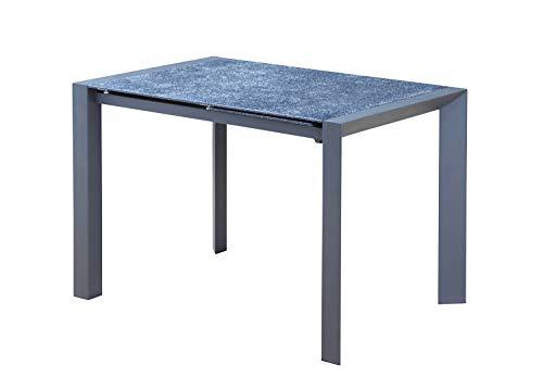 Meubletmoi tavolo allungabile in vetro grigio stile pietra ardesia 110/160cm–piedi metallo–design contemporaneo industriale–tavolo a cena rettangolare robuste–athena 2
