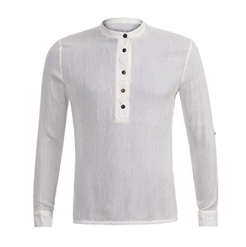 Cloom Leinenhemd Herren Hemden Langarmshirt Freizeithemd Button Down Regular Fit Shirt Blusen Leinen Shirt Oberteil Slim Fit Hemd Herren Weiß Für Business Hochzeit...