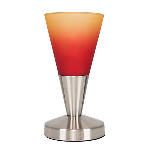 MiniSun Lampe à Poser Tactile. Variateur Touche Intégré.'Conique' Contemporain en Nickel avec Verrerie Orange vers Rouge
