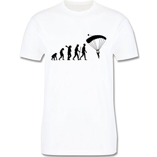 Evolution - Fallschirmspringen Evolution - M - Weiß - L190 - Herren T-Shirt Rundhals