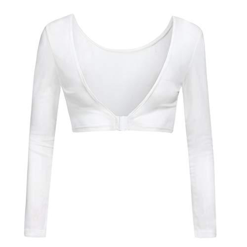 iHENGH Damen Sommer Top Bluse Bequem Lässig Mode T-Shirt Blusen Frauen beide Seiten tragen Schiere Plus Size Nahtlose Arm Former Top Mesh Shirt Blusen(Weiß, 2XL) -