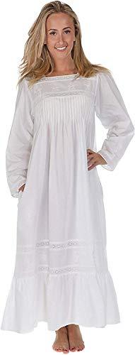 The 1 for U 100% Baumwolle Viktorianisches Stil Nachthemd mit Taschen - Violett- XS - XXXL - Weiß, Weiß, M