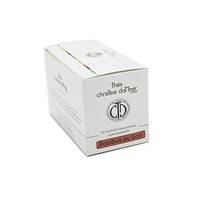 Christine Dattner - Infusion Rooibos Rouge au Goji - Sans Théine - Coffret 20 Sachets Mousseline Coton Bio - Surenveloppes biodégradables - Antioxydant - Detox