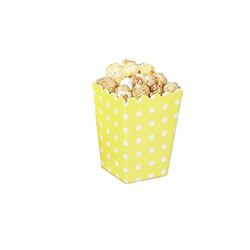 Black Temptation Popcorn Boxes Fries Cups Partyartikel - Gelber Wellenpunkt - 12PCS
