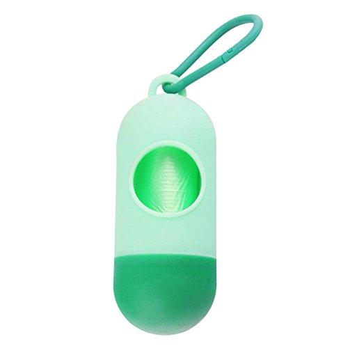 Bolsa de Basura de plástico para dispensador de Bolsa de Basura de 1 PC para Mascotas, para Perros y Mascotas al Aire Libre (1 Rollo Incluye Bolsa de Caca para Mascotas) (Light Green)