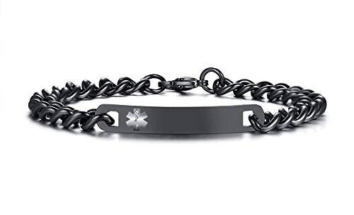 PJ JEWELRY Freie Stich-Frauen-Schwarze Edelstahl-Ketten-Medizinische Alarm-Identifikations-Armbänder für Frauen, Erstes wachsendes SOS-Armband (Pj 6 Größe Mädchen)