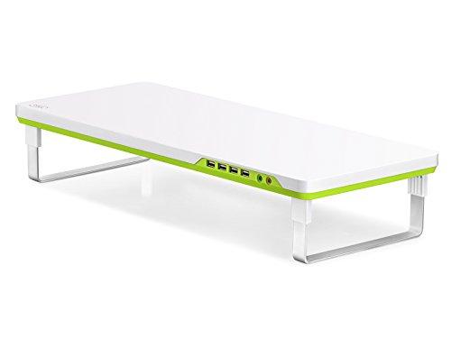 """DEEPCOOL M Desk F1 Bildschirmständer mit 4 USB-Anschlüssen und Kopfhörer/Mikrofon Anschlüssen für iMac, MacBook Pro, MacBook, Dell, Pcs, höhenverstellbar, 230mm Breit, 27"""" / 10kg (max.)"""