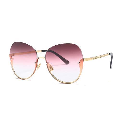 YLYZJH Damenmode Randlose Sonnenbrille Großen Rahmen Damen Cat Eye Brillen Shades Eyewear Für Männer Frauen Uv400