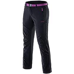 Femme Pantalon Softshell Ultra Thermique Étanche Hiver Automne Coupe-Vent Résistant Respirant Sport Randonnée Camping Running Ski Fille Noir L