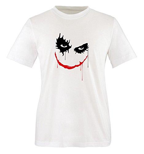 Comedy Shirts - Heath Ledger - THE JOKER -Herren T-Shirt in Weiss / Schwarz-Rot Gr. XXL (Heath Ledger Joker Outfit)