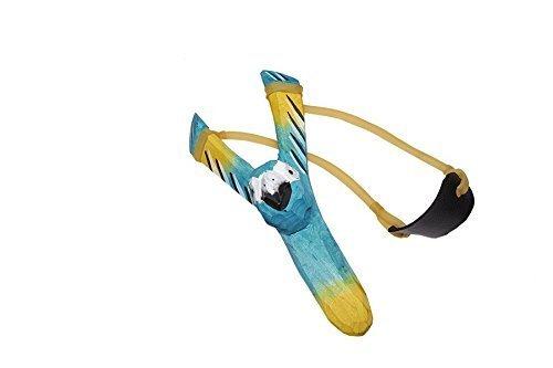 Juguetutto - Tirachinas Loro. Juguete de madera tradicional tallado con forma de loro y goma elástica muy resistente