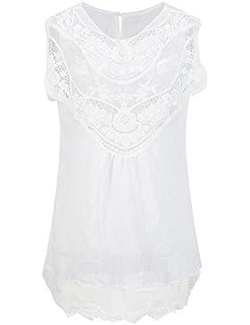 Beauty7 Chalecos Encaje Hueco Floral Tirantes Mujer Camisetas Mujer Verano Fresco Off Hombro Vestido Corto Tops...