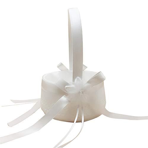Hochzeit Blumen-Korb-Spitze-Bogen-Band-Hochzeit Korb für Matrimony Processions Nette Satin Blumenhalter Beige