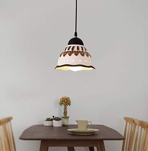TEHWDE Koreanischer Stil Kronleuchter Innenbeleuchtung Deckenleuchten Einbauleuchte Höhenverstellbar Beleuchtung Moderne Kreative Keramik Lampenschirm Küche Handbemalt Esszimmer Lampe, - Handbemalte Esszimmer