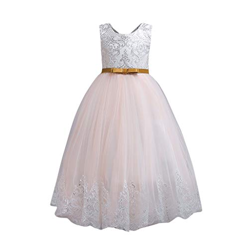 Julhold 2019 Neu Baby Mädchen Ärmelloses Blumen Pailletten Elegantes Kleid Spitzenkleider Formelles Brautkleid 3-9 Jahre -