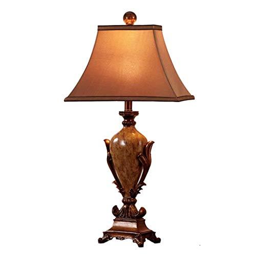 ZAE Europäische Retro Nachttischlampe Country Nightstand Harz Schreibtischlampe mit Simulation Seidentuch Schatten, ideal für Schlafzimmer Wohnzimmer, braun 50cm / 70cm - Seide Schatten Tischleuchte