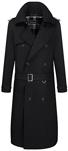 The Platinum Tailor Mens Black Traditional Double Breasted Long Trench Coat Cotton Military Rain Mac