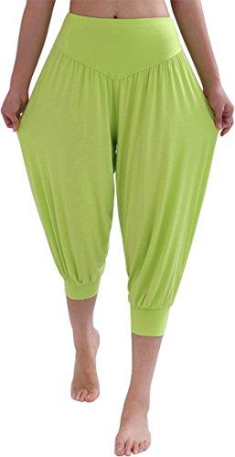 HOEREV® Frauen-Super Soft Modal Spandex Harem Yoga Pilates Capri Hose, Hell_grün, 3XL -