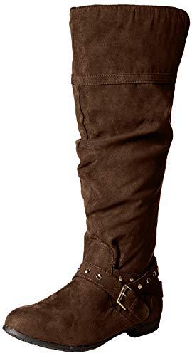 Rampage Damen Women Beeded Round Toe Studded Strap Knee High Boot Damenstiefel, kniehoch, vorne rund, mit Riemen mit Nieten, Brown Micro, 39.5 EU - Brown Knee High Boots