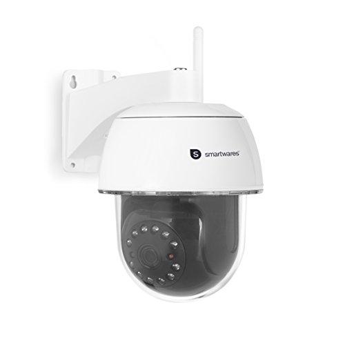 Smartwares C994IP CIP-39940 IP-Kamera Outdoor Full HD PTZ Überwachungskamera mit Bewegungserkennung und Nachtsicht für den Außenbereich, via App steuerbar, Weiß