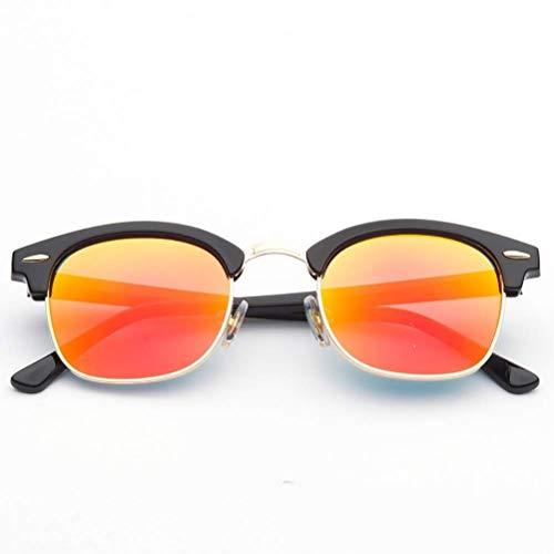 RMXMY Europa und die Vereinigten Staaten Retro-Mode Persönlichkeit Harz Sonnenbrille Metallrahmen Anti-UV-Unisex-Sonnenbrille (Color : A)