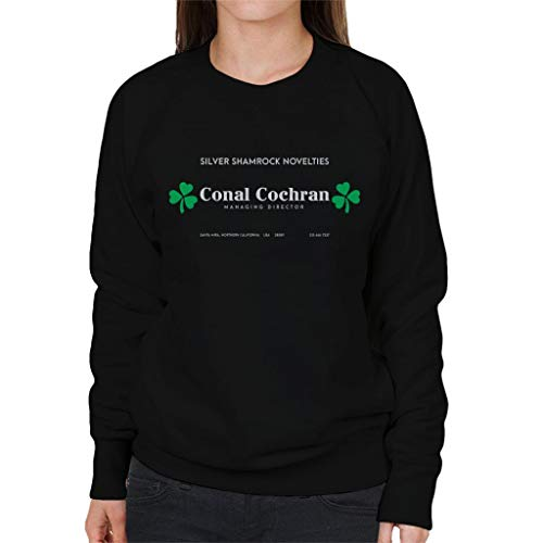 Cloud City 7 Halloween Silver Shamrock Novelties Business Card Women's Sweatshirt (Silver Shamrock Halloween)
