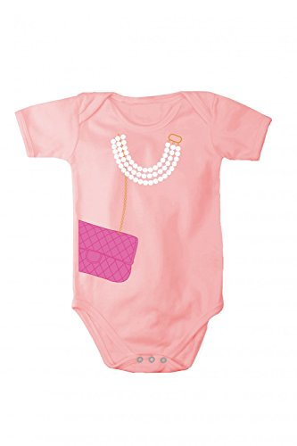 Body pagliacetto con stampa collana e borsetta, Taglia:50-56 cm;Colore:Rosa