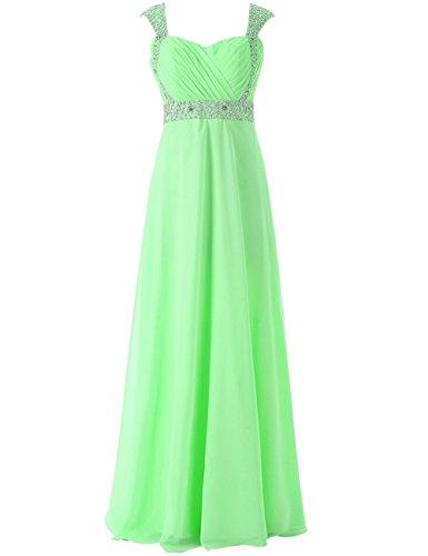 JAEDEN cappuccio manica Chiffon Abiti da damigella Lungo Del vestito da promenade Vestito da sera Verde