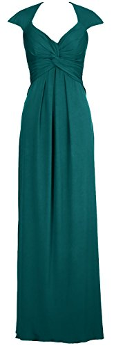 MACloth Women Long Jersey V Neck Wedding Party Bridesmaid Dress Prom Ball Gown Teal