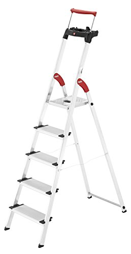 Hailo XXR ComfortLine Alu Stehleiter (5 XXL-Stufen, EasyClix, Ablageschale, ausziehbarer Haltebügel, bis 150 kg) 8030-507