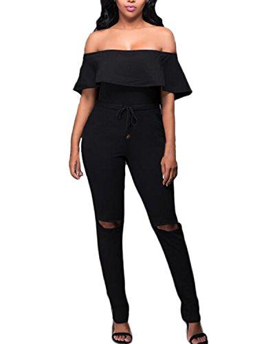 Auxo Femme Sexy Clubwears épaule Bustier Tops Lotus Manches Combinaisons Creux Pantalons Noir